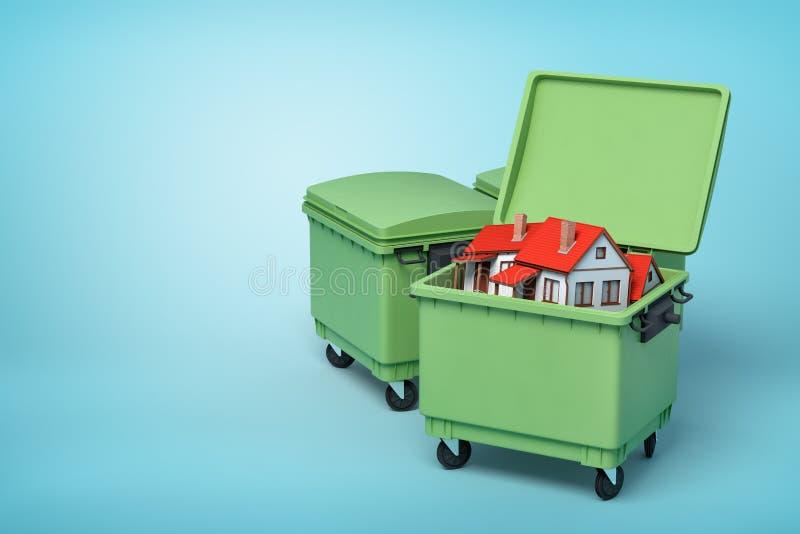 rendu 3d des poubelles vertes avec le petit int?rieur blanc de maisons sur le fond bleu illustration stock