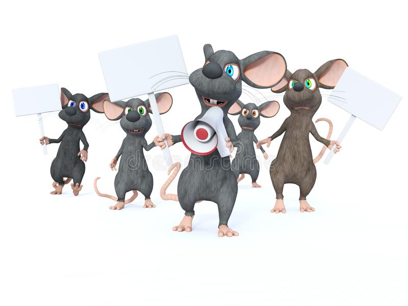 rendu 3D des souris de bande dessinée en grève illustration stock