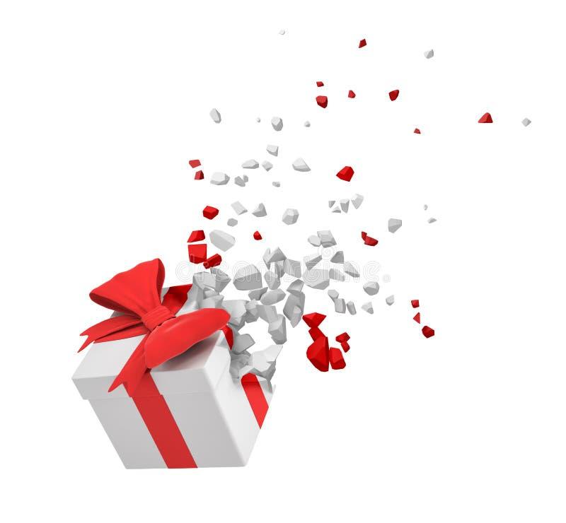 rendu 3d du boîte-cadeau blanc attaché avec le ruban rouge commençant à se dissoudre dans des morceaux d'isolement sur le fon illustration libre de droits