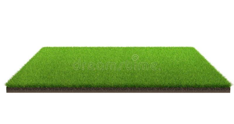 rendu 3d du champ d'herbe verte d'isolement sur un fond blanc avec le chemin de coupure Champ de sports photographie stock