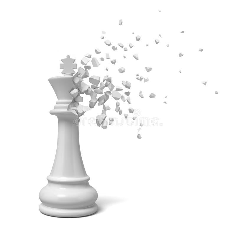 rendu 3d du chesspiece blanc de roi commençant à se dissoudre dans des morceaux sur le fond blanc photographie stock