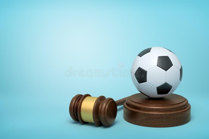 rendu 3d du football sur retentir le bloc avec le marteau de juge se trouvant à coté sur le fond bleu-clair illustration stock