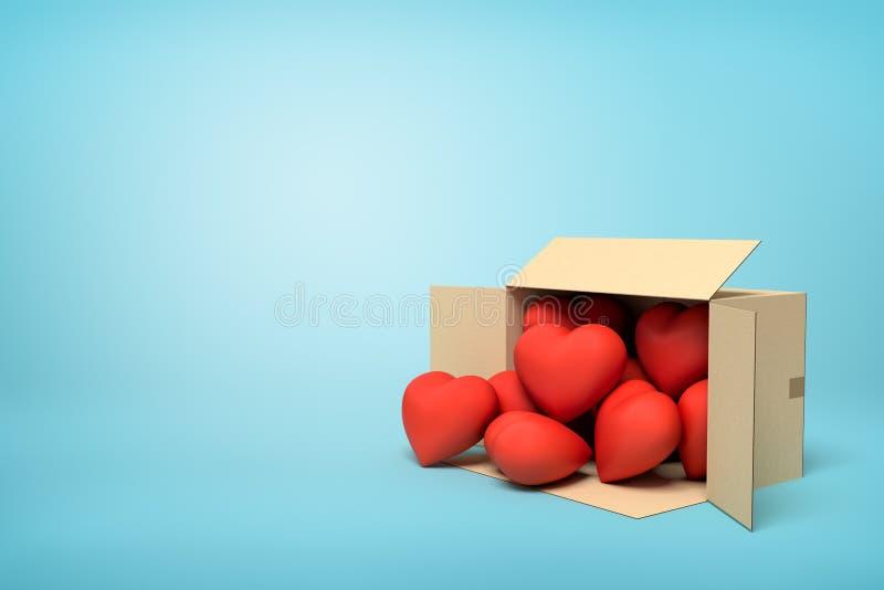 rendu 3d du mensonge ouvert de boîte en carton latéral avec les coeurs rouges mignons à l'intérieur et plusieurs extérieur sur bl illustration de vecteur