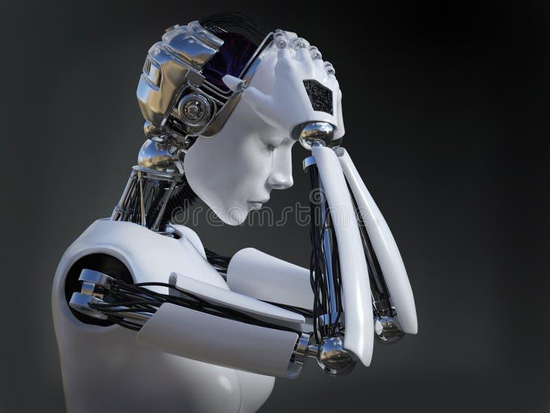 rendu 3D du nr pleurant 2 de robot femelle illustration libre de droits