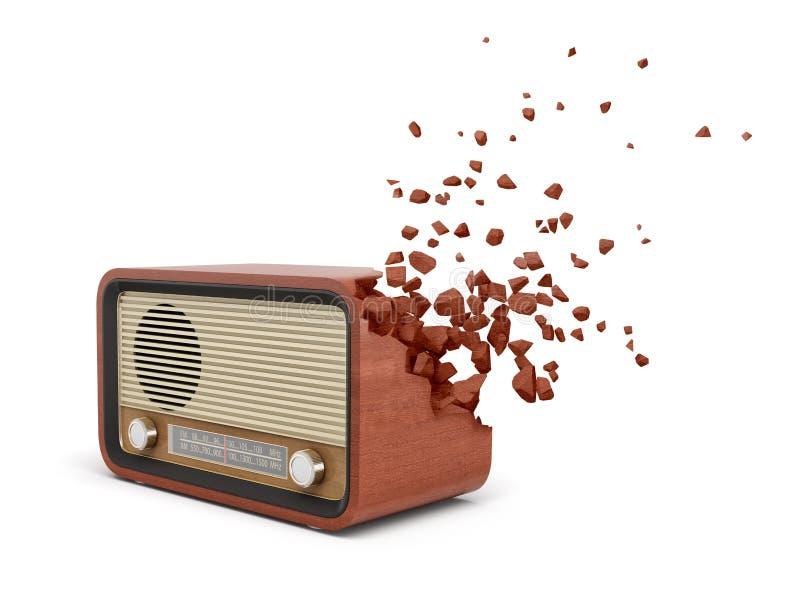 rendu 3d du poste radio brun d?mod? qui commence ? se dissoudre dans des morceaux sur un coin sur le blanc illustration stock