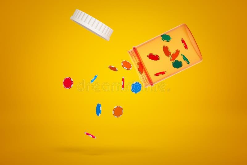 rendu 3d du pot en plastique transparent de pilule incliné en air avec le couvercle et les jetons de poker colorés tombant sur l' illustration de vecteur