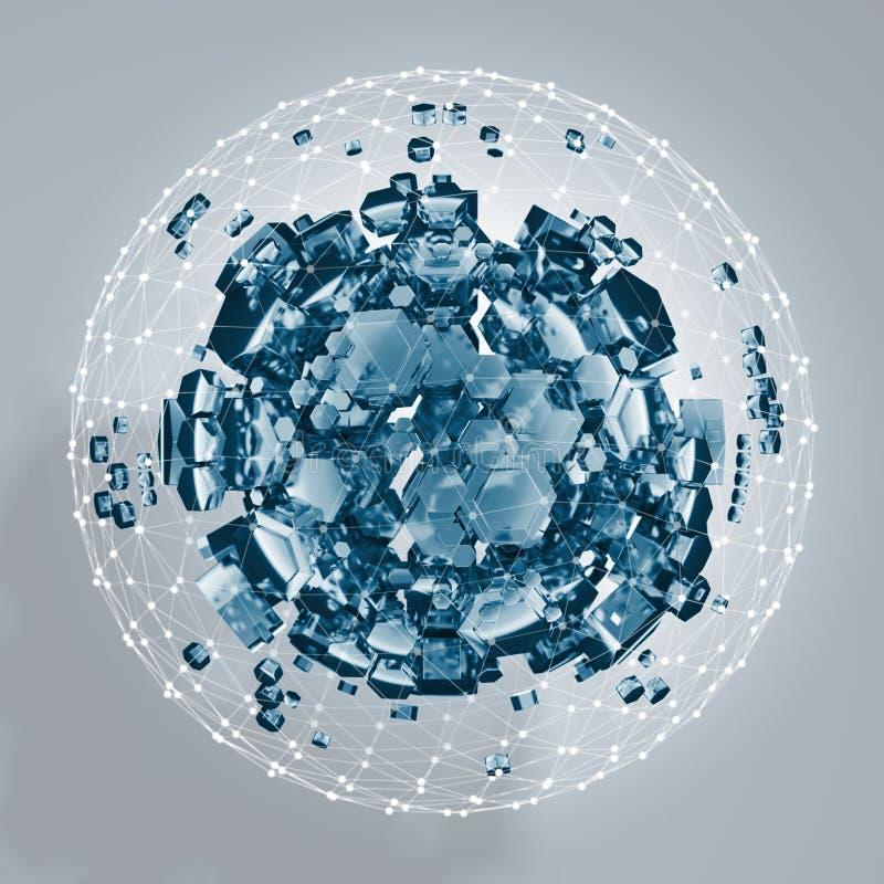 rendu 3D du prisme hexagonal blanc Fond de la science fiction Sphère abstraite dans l'espace vide illustration libre de droits