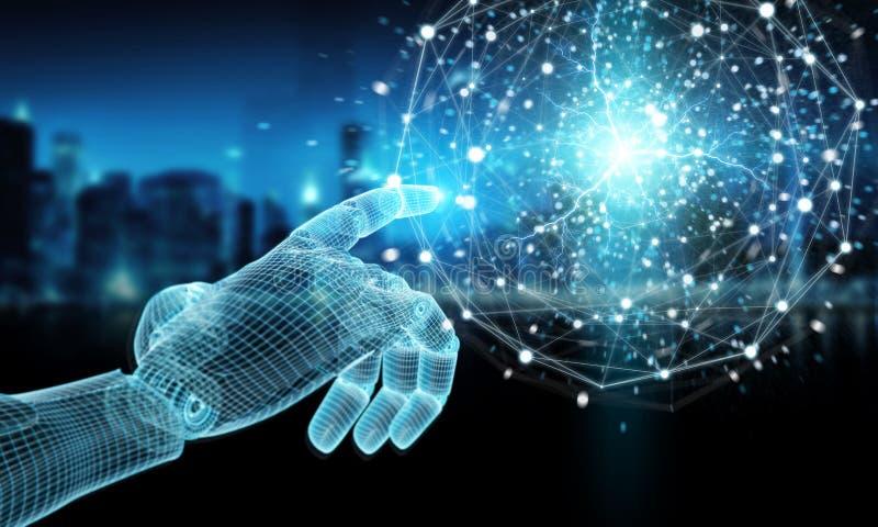 Rendu 3D du réseau de sphère numérique à la main de robot bleu filaire photos libres de droits