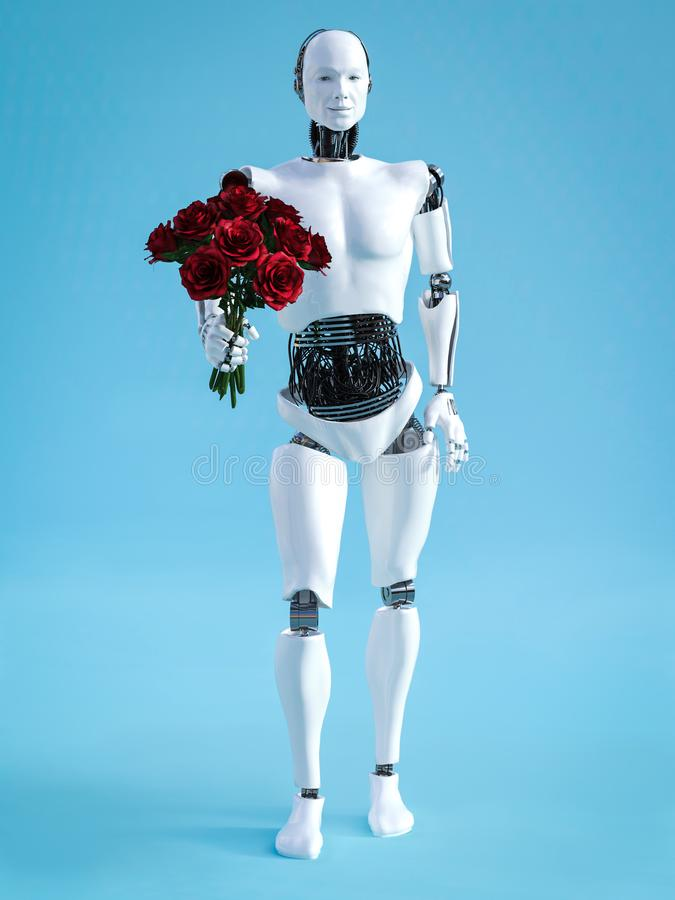 rendu 3D du robot masculin tenant un bouquet des roses illustration stock