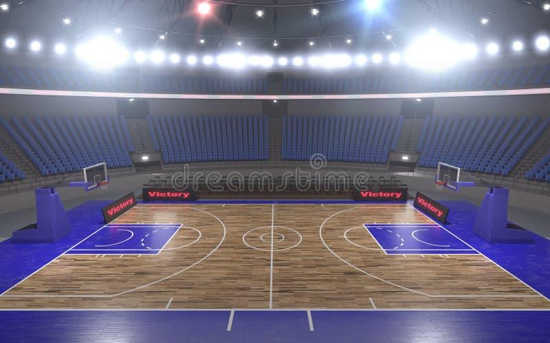 rendu 3d du stade de basket-ball avec des lumières photos libres de droits
