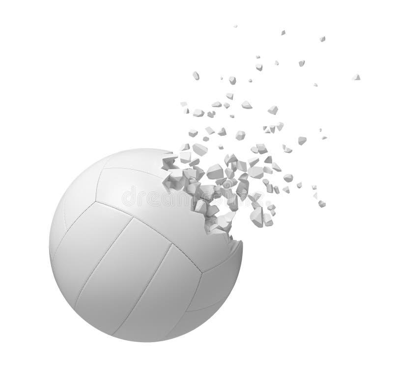 rendu 3d du volleyball blanc commen?ant ? se dissoudre dans des particules d'isolement sur le fond blanc illustration libre de droits
