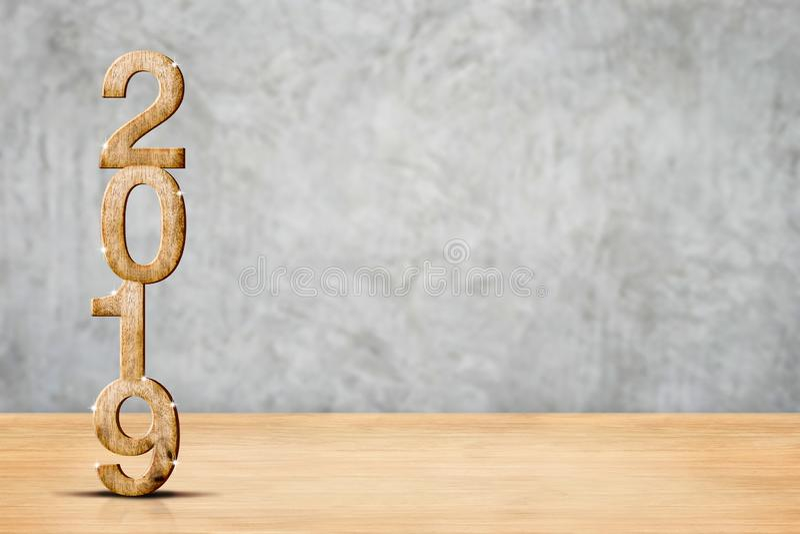 Rendu 3d en bois de la bonne année 2019 dans le floo en bois de perspective photos stock