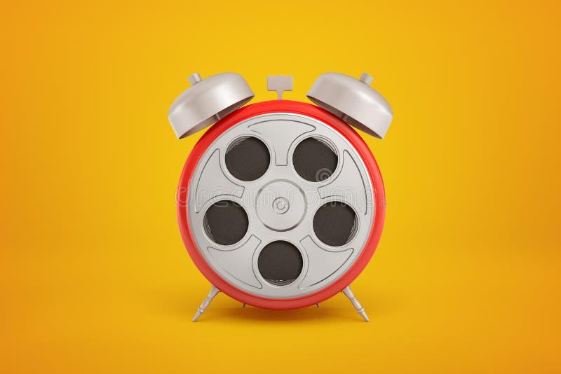 rendu 3d en gros plan de réveil rond rouge avec la rétro bobine de film gris argenté au lieu du horloge-visage sur l'ambre images stock