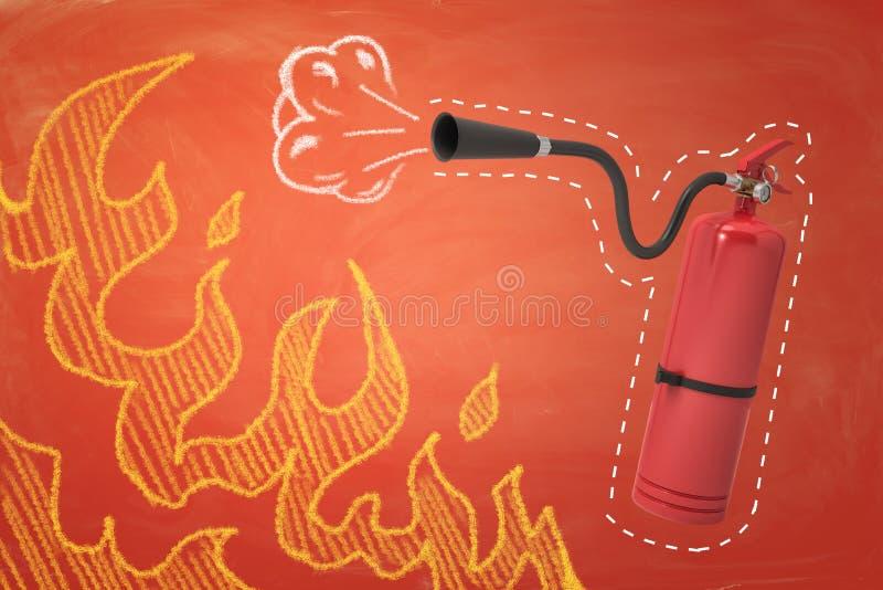 rendu 3d d'extincteur rouge de mousse avec des flammes de mousse et de feu dessinées sur le fond orange illustration libre de droits