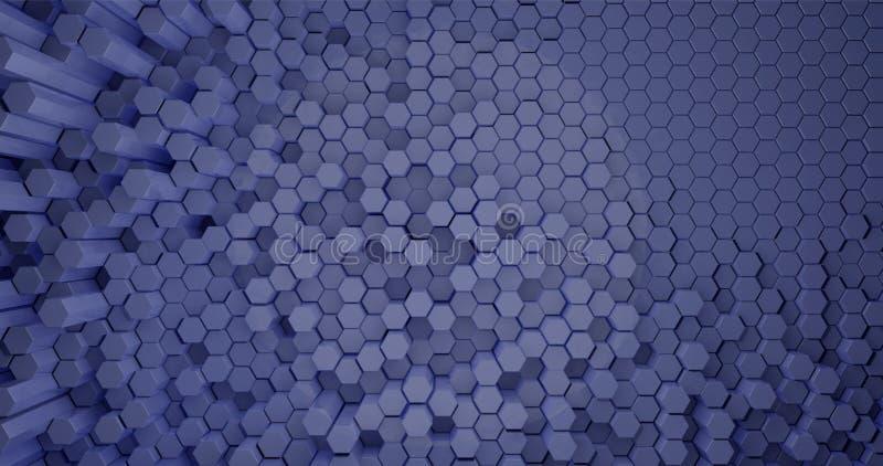 rendu 3d Fond abstrait des tiges hexagonales de différentes tailles, couleur bleu-clair Illustration graphique pour vos affaires illustration stock