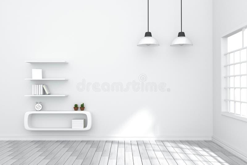 rendu 3D : illustration d'intérieur confortable de salon avec les étagères à livres blanches contre le mur blanc mat lumière natu illustration stock
