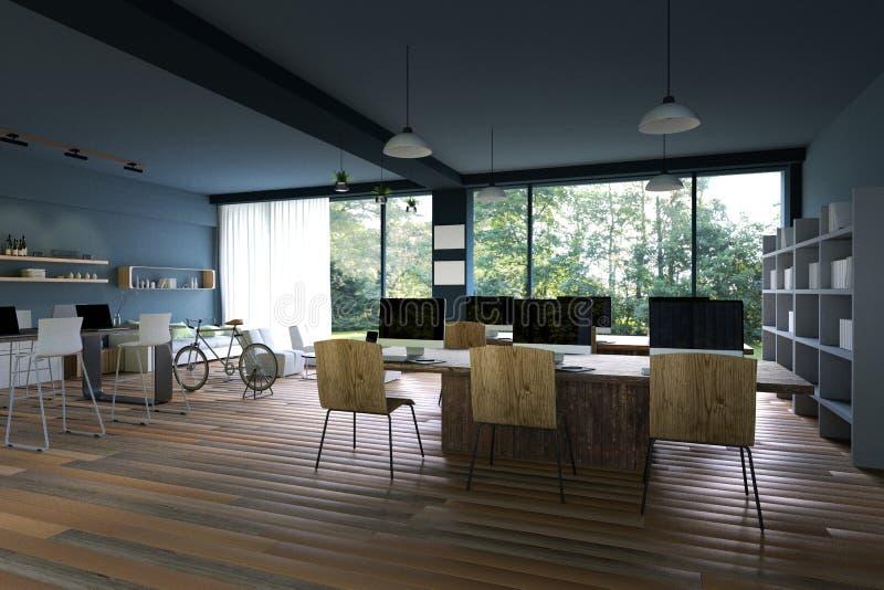 rendu 3D : illustration d'intérieur de décoration de café de PC d'Internet ou bureau de PC d'intérieur de travailleur d'ordinateu illustration libre de droits