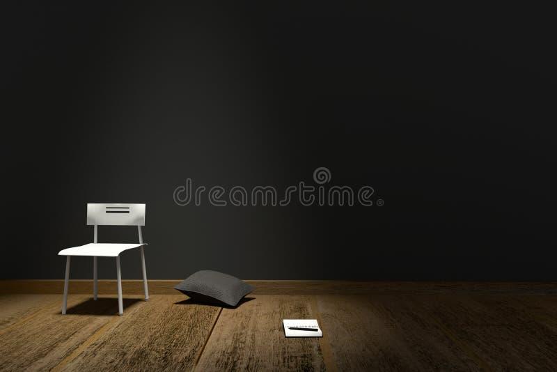 rendu 3D : Illustration d'intérieur moderne avec l'oreiller de chaise et le carnet sur le fond noir mat de mur Étage en bois illustration de vecteur