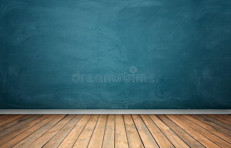 Rendu d'intérieur avec le mur en béton bleu et le plancher en bois photos stock