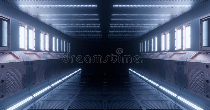 rendu 3d Le couloir fantastique de la station spatiale ou l'intérieur futuriste du vaisseau spatial dans l'éclairage au néon bleu illustration stock