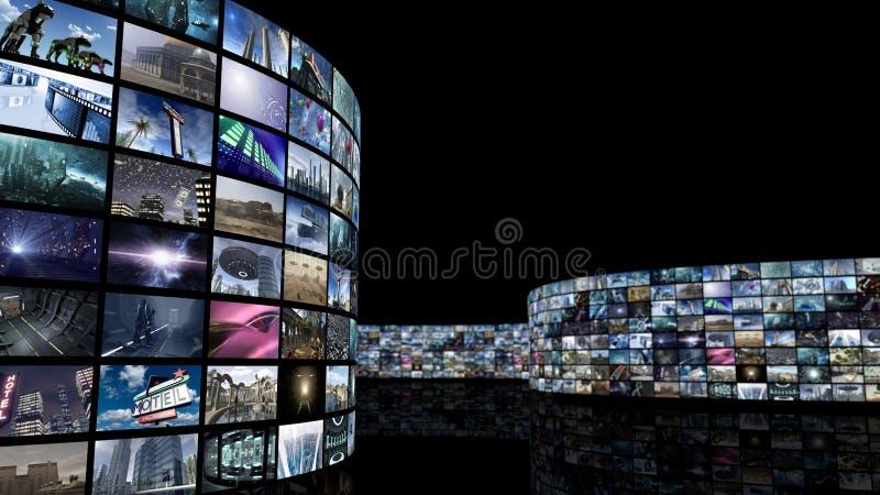 rendu 3d Mur de déroulement de vidéo de cinéma illustration libre de droits