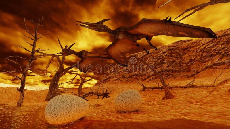 Rendu d'oeufs et de ptérodactyle 3d illustration stock