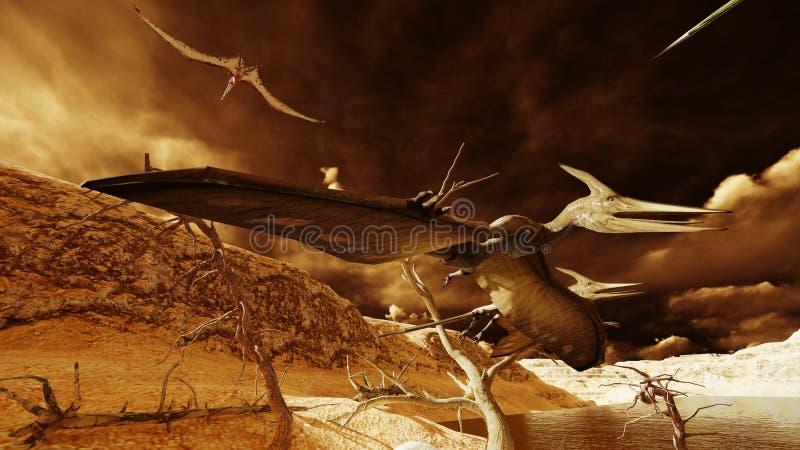 Rendu d'oeufs et de ptérodactyle 3d illustration de vecteur