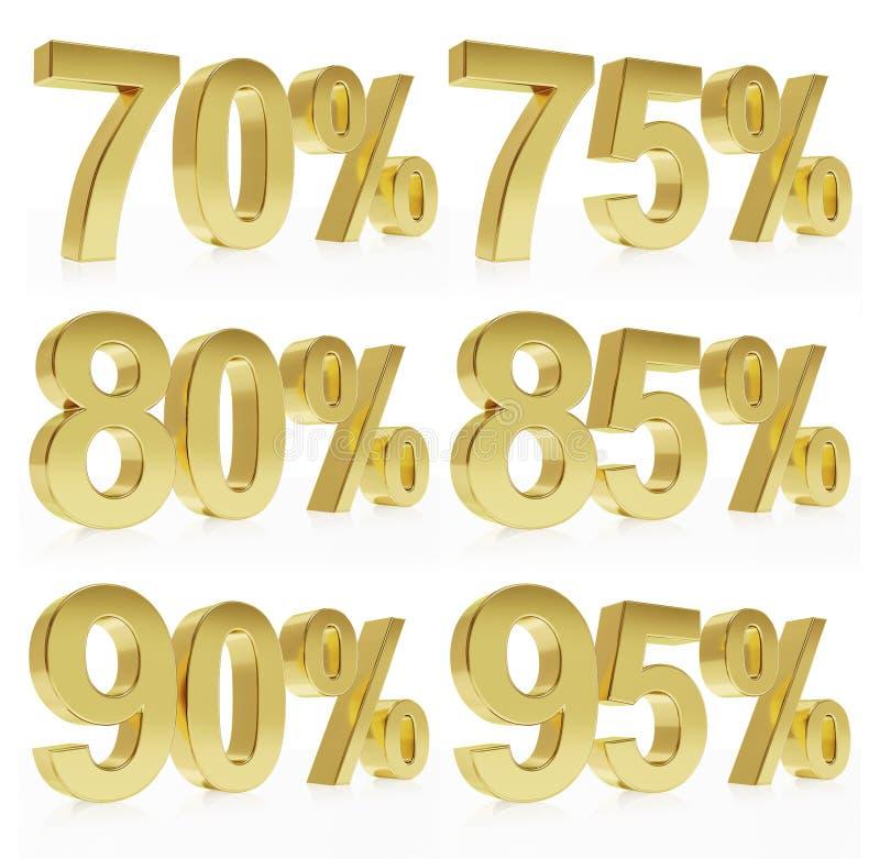 Rendu d'or Photorealistic d'un symbole pour %  illustration de vecteur