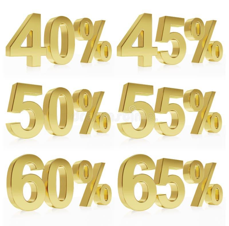 Rendu d'or Photorealistic d'un symbole pour % de remise illustration de vecteur