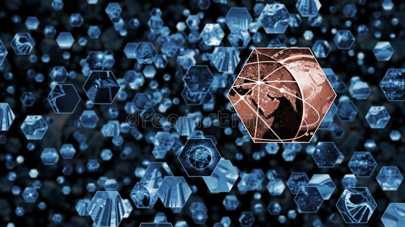 rendu 3d Sautez le mur d'image dans le modèle de nid d'abeilles reliant le monde illustration stock