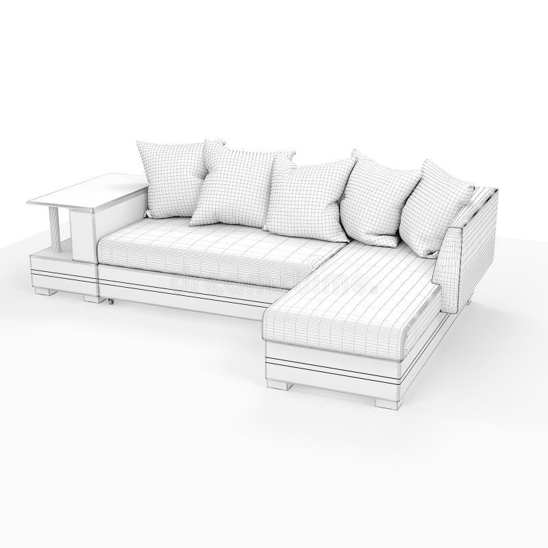 rendu 3d Sofa moderne de forme simple images stock