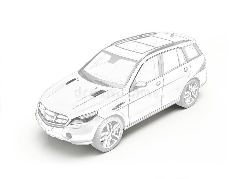 Rendu 3D stylisé de voiture générique de Suv illustration stock