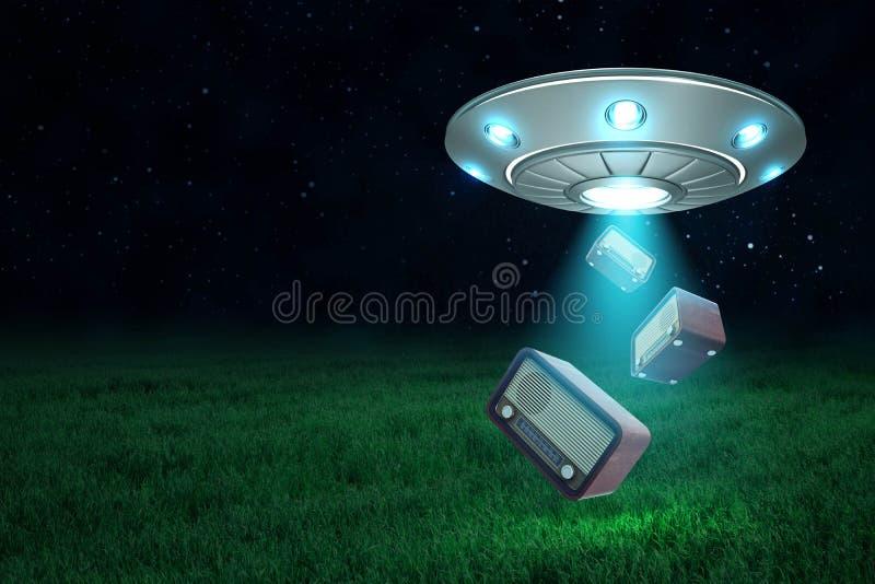 rendu 3d d'UFO avec la trappe ouverte sous le ciel nocturne laissant tomber trois rétros postes radio sur le champ vert illustration stock