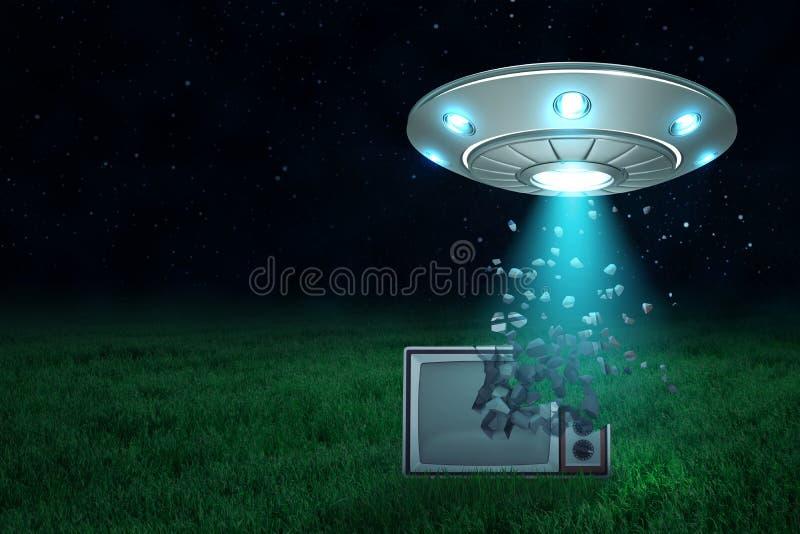 rendu 3d d'UFO en air la nuit avec la lumière sortant de sa trappe ouverte sur le vieux poste TV commençant à se dissoudre dans illustration stock