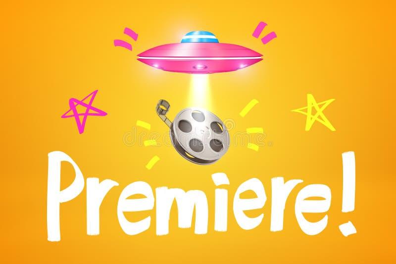 """rendu 3d d'UFO rose mettant en lumière la bobine de film en air au-dessous de lui avec le titre """"première """"sur le fond ambre image libre de droits"""