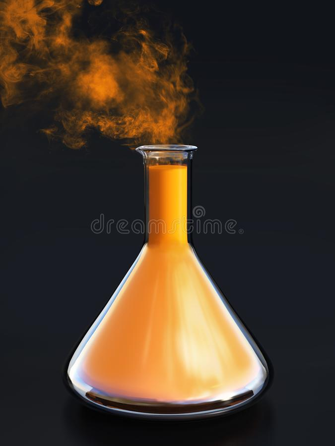 rendu 3D d'un becher de la science avec de la fumée venant de elle illustration libre de droits