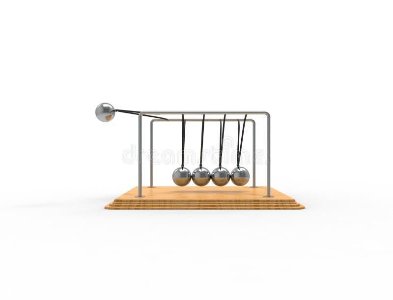 rendu 3D d'un berceau de Newton d'isolement sur le fond blanc de studio illustration libre de droits