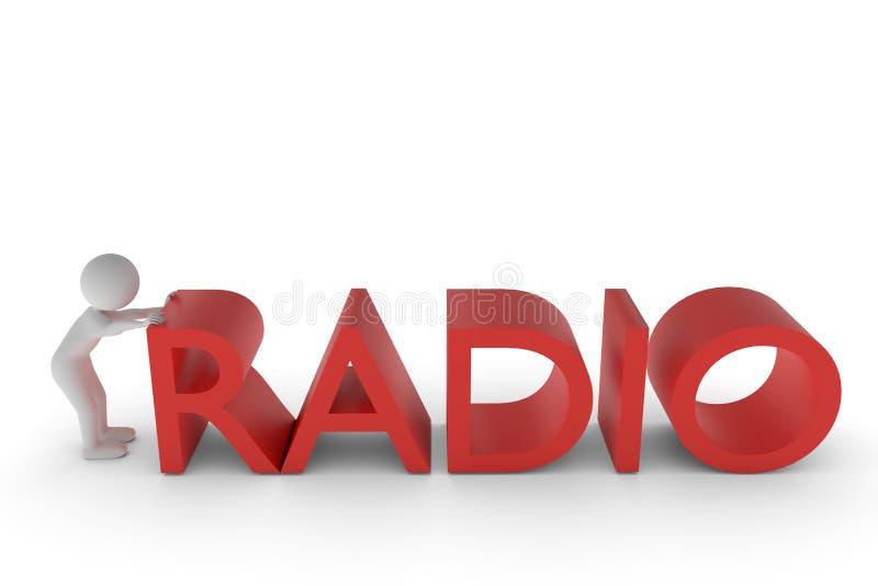 rendu 3D d'un caractère d'argile qui pousse le R du R de la radio expulsée de mot dans la bonne position illustration stock