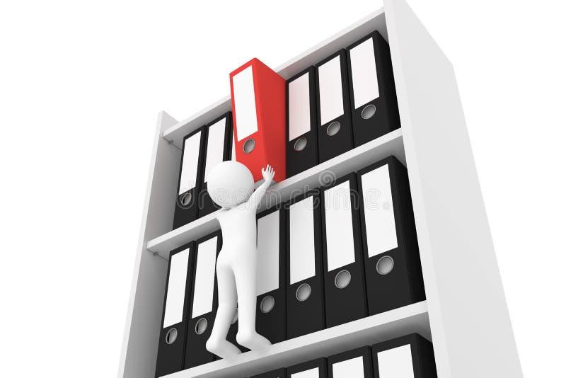 rendu 3D d'un caractère d'argile qui retire un dossier rouge d'un meuble d'archivage illustration stock