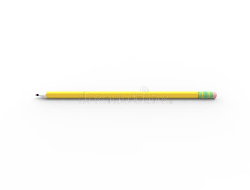 rendu 3d d'un crayon de croquis d'isolement à l'arrière-plan blanc de studio illustration de vecteur