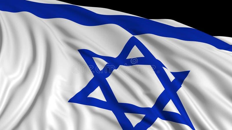 rendu 3d d'un drapeau israélien Le drapeau se développe sans à-coup dans le vent illustration libre de droits