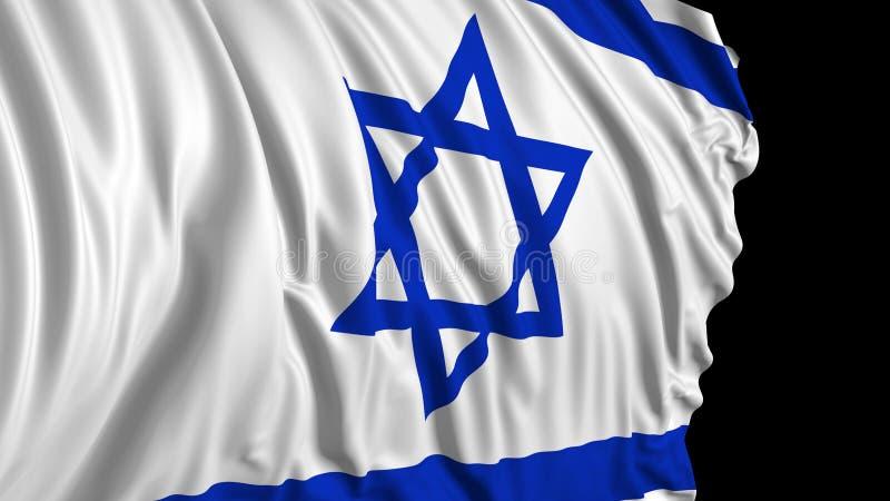 rendu 3d d'un drapeau israélien Le drapeau se développe sans à-coup dans le vent illustration de vecteur