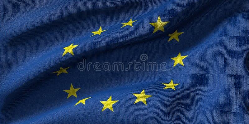 rendu 3D d'un drapeau d'UE avec la texture de tissu photos stock