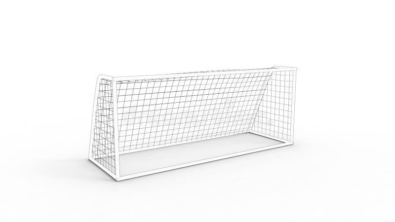 rendu 3D d'un but du football d'isolement à l'arrière-plan blanc illustration stock