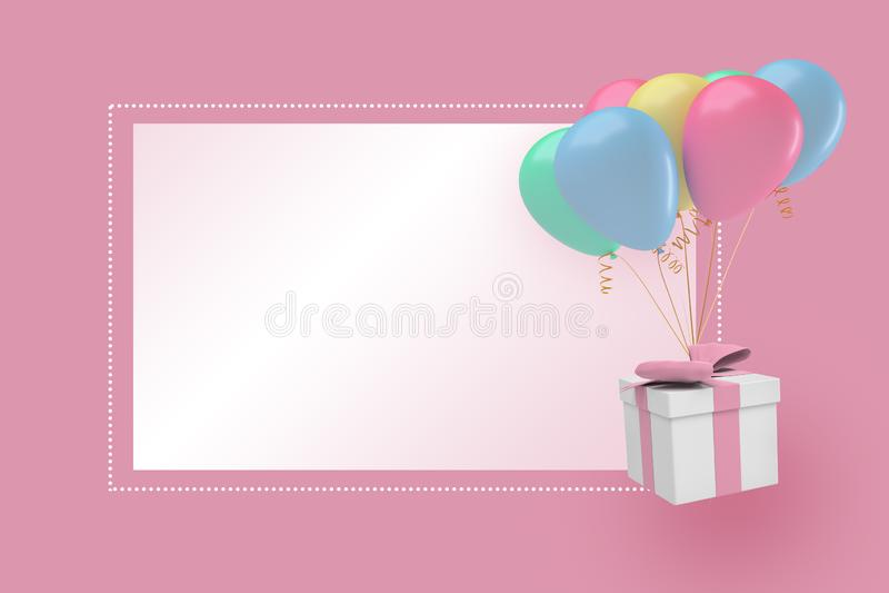 rendu 3d d'un fond rose en pastel avec un boîte-cadeau et des ballons de partie près d'un bloc ou d'un texte blanc illustration libre de droits