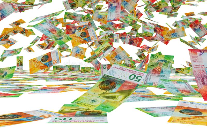rendu 3D d'un grand nombre de chute suisse de billets de banque illustration libre de droits