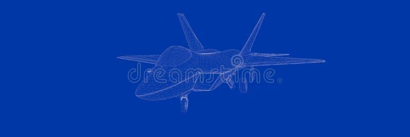 rendu 3d d'un jet de combat sur un modèle bleu de fond illustration libre de droits