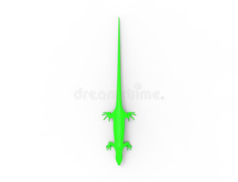 rendu 3d d'un lézard vert d'isolement à l'arrière-plan blanc de studio illustration de vecteur