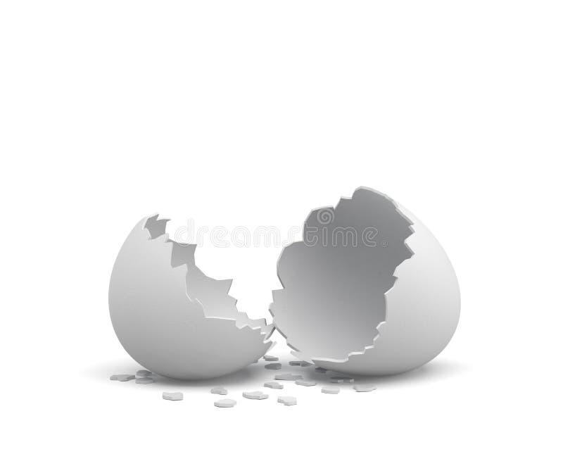 rendu 3d d'un oeuf criqué vide de poulet avec une coquille blanche et plusieurs morceaux de elle se trouvant autour illustration libre de droits