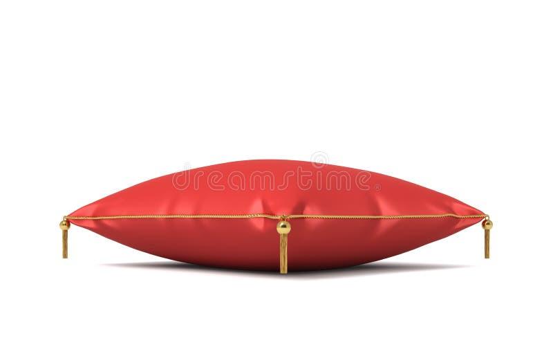rendu 3d d'un oreiller royal en soie rouge avec les tussels d'or d'isolement sur un fond blanc illustration libre de droits